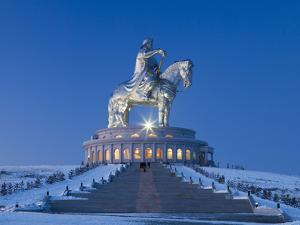 Mongolia, Tov Province, Tsonjin Boldog, a 40M Tall Statue of Genghis Khan on Horseback Stands on To by Nick Ledger