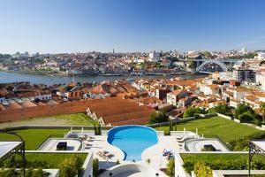 Portugal, Douro Litoral, Porto. The view towards the old town of Porto and the Ribeira district fro by Nick Ledger
