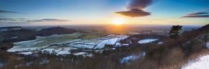 United Kingdom, England, North Yorkshire, Sutton Bank. a Panoramic View of a Winter Sunset. by Nick Ledger