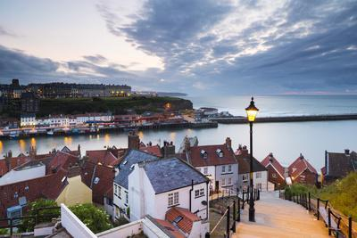 United Kingdom, England, North Yorkshire, Whitby. the Harbour and 199 Steps