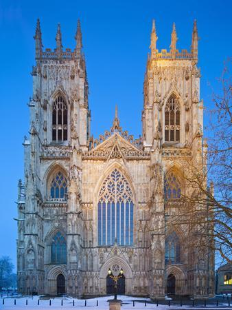 United Kingdom, England, North Yorkshire, York, the West Face of York Minster in Winter