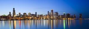 USA, Illinois, Chicago, Dusk View of the Skyline from Lake Michigan by Nick Ledger