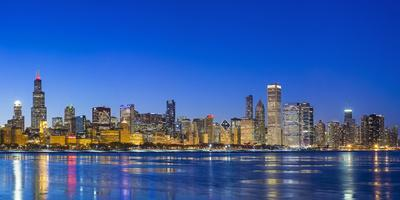 Usa, Illinois, Chicago. the City Skyline and a Frozen Lake Michigan from Near the Shedd Aquarium.