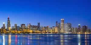 Usa, Illinois, Chicago. the City Skyline and a Frozen Lake Michigan from Near the Shedd Aquarium. by Nick Ledger
