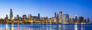 Usa, Illinois, Chicago. the City Skyline and a Frozen Lake Michigan. by Nick Ledger
