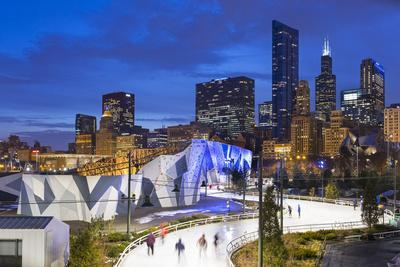 USA, Illinois, Chicago. The Maggie Daley Park Ice Skating Ribbon on a cold Winter's evening.