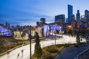 USA, Illinois, Chicago. The Maggie Daley Park Ice Skating Ribbon on a cold Winter's evening. by Nick Ledger