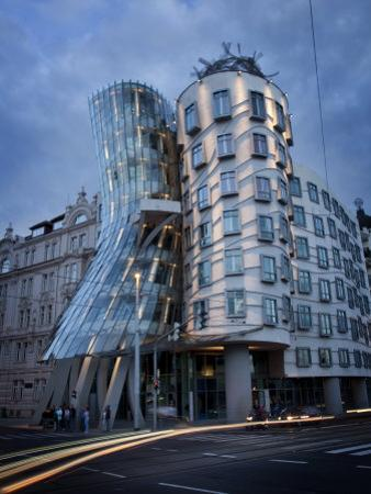 Dancing House (Fred and Ginger Building), by Frank Gehry, at Dusk, Prague, Czech Republic by Nick Servian