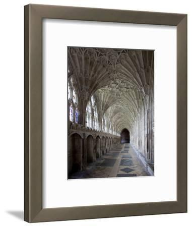 Interior of Cloisters with Fan Vaulting, Gloucester Cathedral, Gloucestershire, England, UK