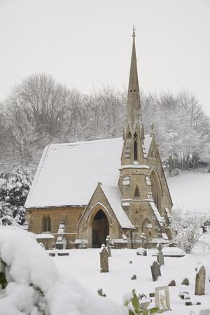 Box Cemetery Chapel after Heavy Snow, Box, Wiltshire, England, United Kingdom, Europe