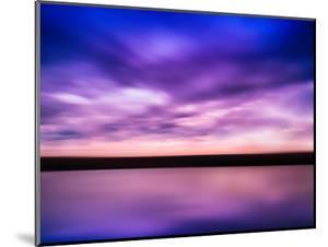 Horizontal Vivid Pink Purple River Sunset with Reflection Horizo by Nickolay Loginov