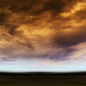 Square Orange Vivid Radiation Cloudscape Storm Motion Abstractio by Nickolay Loginov
