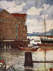 Old Warehouse and Boats, Molde, 1905 by Nico Jungman