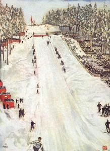 Ski Jumping in Oslo 1905 by Nico Jungman