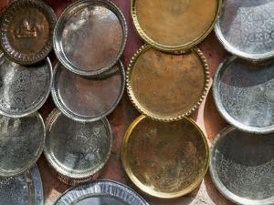 Brass Plates for Sale in the Souk, Marrakech (Marrakesh), Morocco, North Africa by Nico Tondini