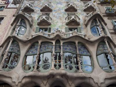 Facade of Casa Batllo by Gaudi, UNESCO World Heritage Site, Passeig de Gracia, Barcelona, Spain by Nico Tondini