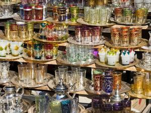 Glasses for Sale in the Souk, Medina, Marrakech (Marrakesh), Morocco, North Africa, Africa by Nico Tondini