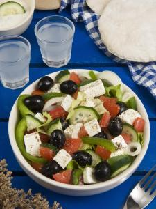 Greek Salad with Feta and Olives, Greek Food, Greece, Europe by Nico Tondini