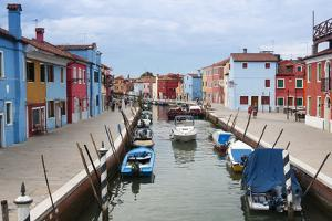 Houses on the waterfront, Burano, Venice, Veneto, Italy. by Nico Tondini