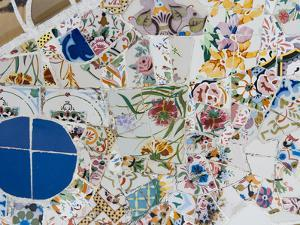 Mosaics, Guell Park (Parc Guell), UNESCO World Heritage Site, Barcelona, Spain by Nico Tondini