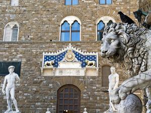 Palazzo Vecchio, Marzocco Lion and Statue of David, Piazza Della Signoria, UNESCO Heritage Site by Nico Tondini