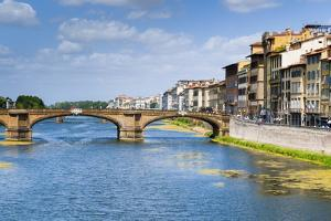 Ponte Santa Trinita Dating from the 16th Century and the Arno River, Florence (Firenze), Tuscany by Nico Tondini