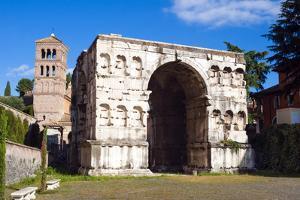 Quadrifrons Triumphal Arch of Janus, Belltower of San Giorgio in Velabro's Church, Rome by Nico Tondini