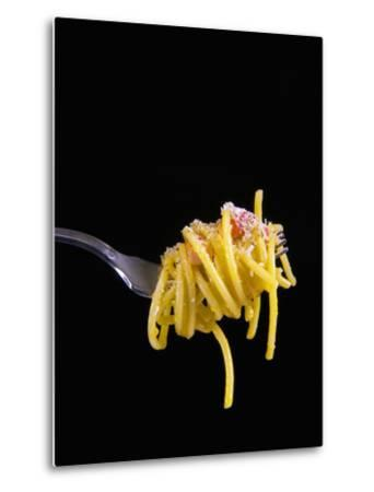 Spaghetti Alla Carbonara, Italian Pasta Dish Based on Eggs, Cheese, Bacon and Black Pepper, Italy