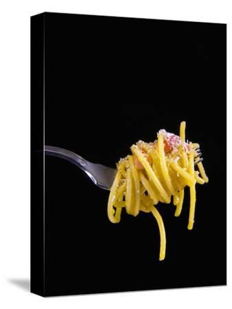 Spaghetti Alla Carbonara, Italian Pasta Dish Based on Eggs, Cheese, Bacon and Black Pepper, Italy