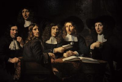 Nicolaes Maes (1634-1693). Dutch Golden Age Painter. Six Deans of the Amsterdam Guild of Surgeons