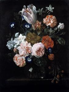 A Tulip, Carnations, and Morning Glory in a Glass Vase, 17th Century by Nicolaes van Veerendael