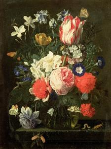 Rose, Tulip, Morning Glory and Other Flowers in a Glass Vase on a Stone Ledge by Nicolaes van Veerendael
