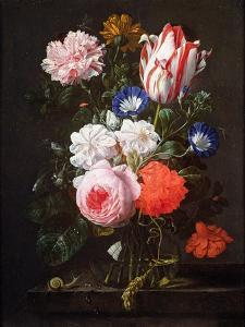 Still Life of Roses, a Carnation, Convolvulus and a Tulip in a Glass Vase by Nicolaes van Veerendael