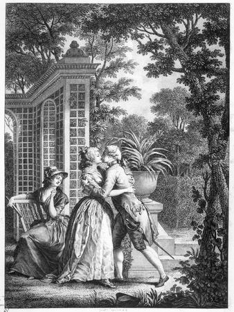 """The First Kiss of Love, Illustration from """"La Nouvelle Heloise"""" by Jean-Jacques Rousseau"""