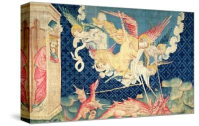 """St. Michael and His Angels Fighting the Dragon, No.36 from """"The Apocalypse of Angers,"""" 1373-87"""
