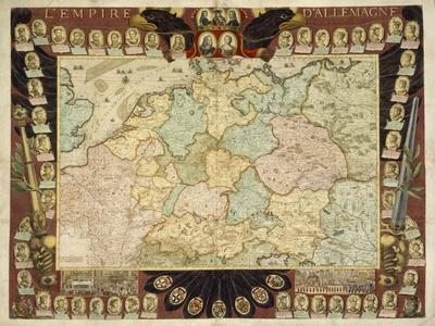 Map of the German Empire with Portraits of the Holy Roman Emperors, Published by Louis-Charles…