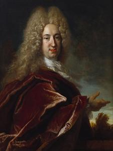Portrait of a Gentleman, Wearing a Long Wig, Lace Jabot and Burgundy Colour Cloak by Nicolas de Largilliere