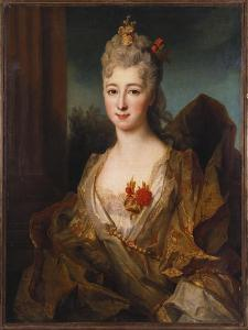 Portrait of a Lady, Half Length, in a White and Gold Embroidered Dress, with Flowers in Her Hair by Nicolas de Largilliere