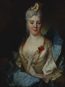 Portrait of a Lady, Wearing a White Dress and a Blue Cloak by Nicolas de Largilliere