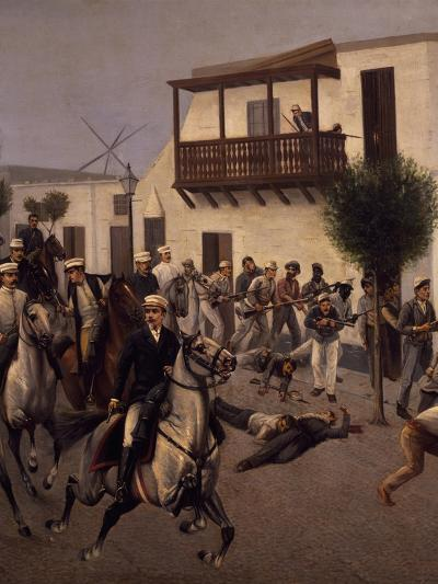 Nicolas De Pierola Heading Cavalry Entering Village of Cocharcas--Giclee Print