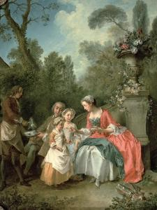 A Lady and a Gentleman in the Garden with Two Children c. 1742 (Detail) by Nicolas Lancret