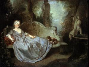 A Lady in a Garden, 18th Century by Nicolas Lancret