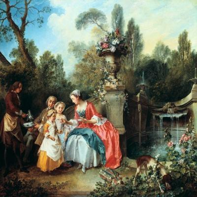A Lady in a Garden Taking Coffee with Some Children, Probably 1742