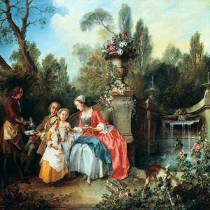 A Lady in a Garden Taking Coffee with Some Children, Probably 1742 by Nicolas Lancret