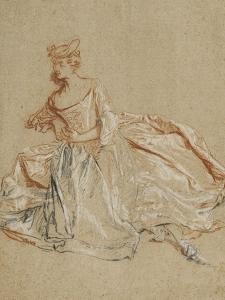 Femme assise en élégant costume by Nicolas Lancret