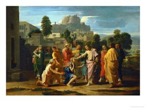 Jesus Healing the Blind of Jericho by Nicolas Poussin