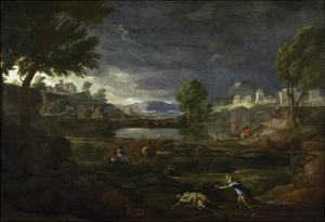 Landscape During a Thunderstorm with Pyramus and Thisbe, 1651 by Nicolas Poussin