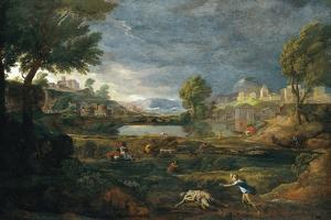Landscape During a Thunderstorm with Pyramus and Thisbe by Nicolas Poussin