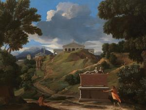 Landscape With Antique Tomb And Two Figures by Nicolas Poussin