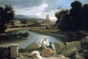 Landscape with St Matthew and the Angel, C1645 by Nicolas Poussin